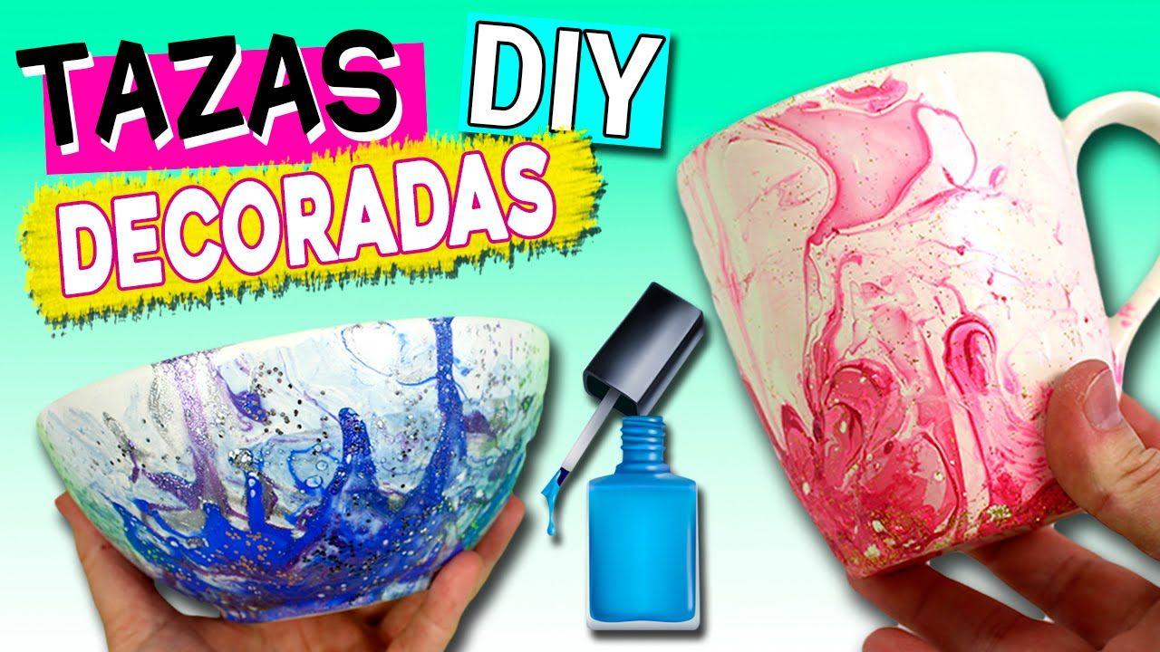 TAZAS decoradas con ESMALTE de uñas * Ideas para REGALAR | lampara ...