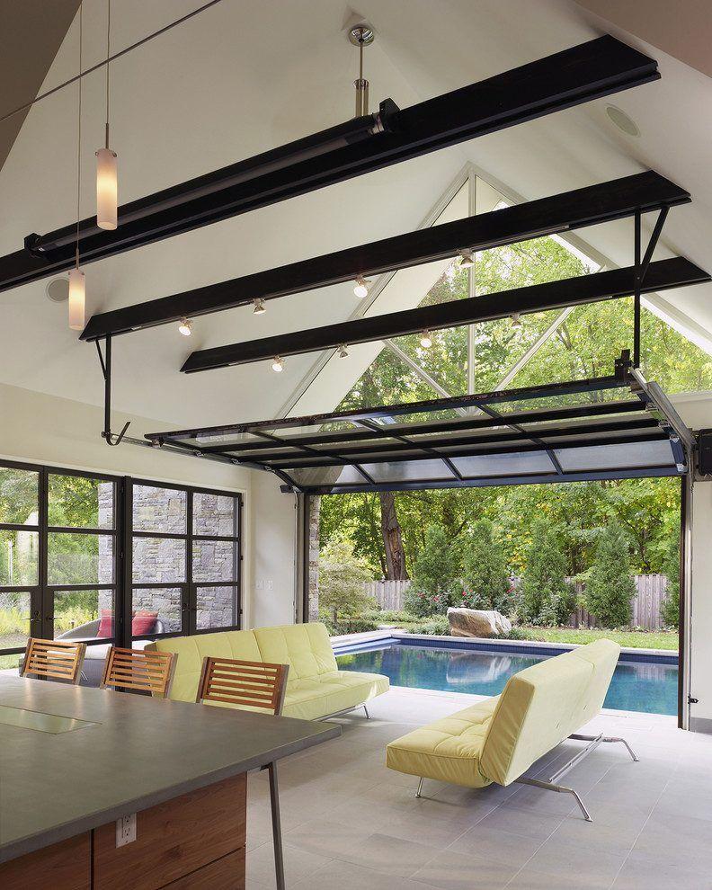 Garage patio designs living room contemporary with glass garage door ...