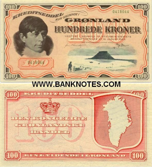Greenland 100 Kroner 1953 Danish Arctic Explorer And Ethnologist Knud Johan Victor Rasmussen Lake View Map Of Greenland Greenland Bank Notes Coins
