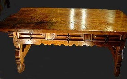 2- Bureau Espagnol XVIIe, double face - Mobilier Style Louis XIII