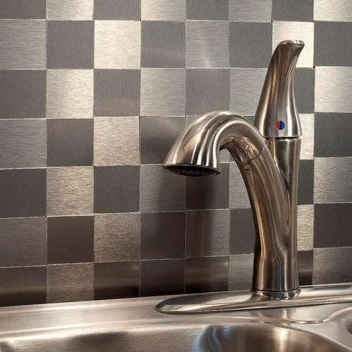 Aspect Peel Stick Metal Backsplash Matted Square At