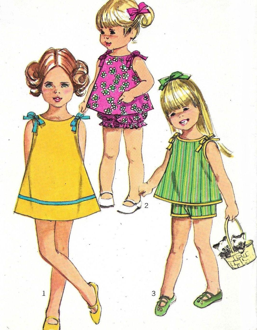 """Sun Dress Sun Suit Pattern Little Girls Beach Day Shorts Bloomers 1960s Simplicity 7668 Size 6 25"""" Chest Uncut by WildPlumTree on Etsy"""