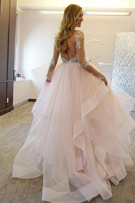Fashion Ball Gown Lace Sheer Illusion Tulle Backless Long Asymmetrical Wedding Dress PM409
