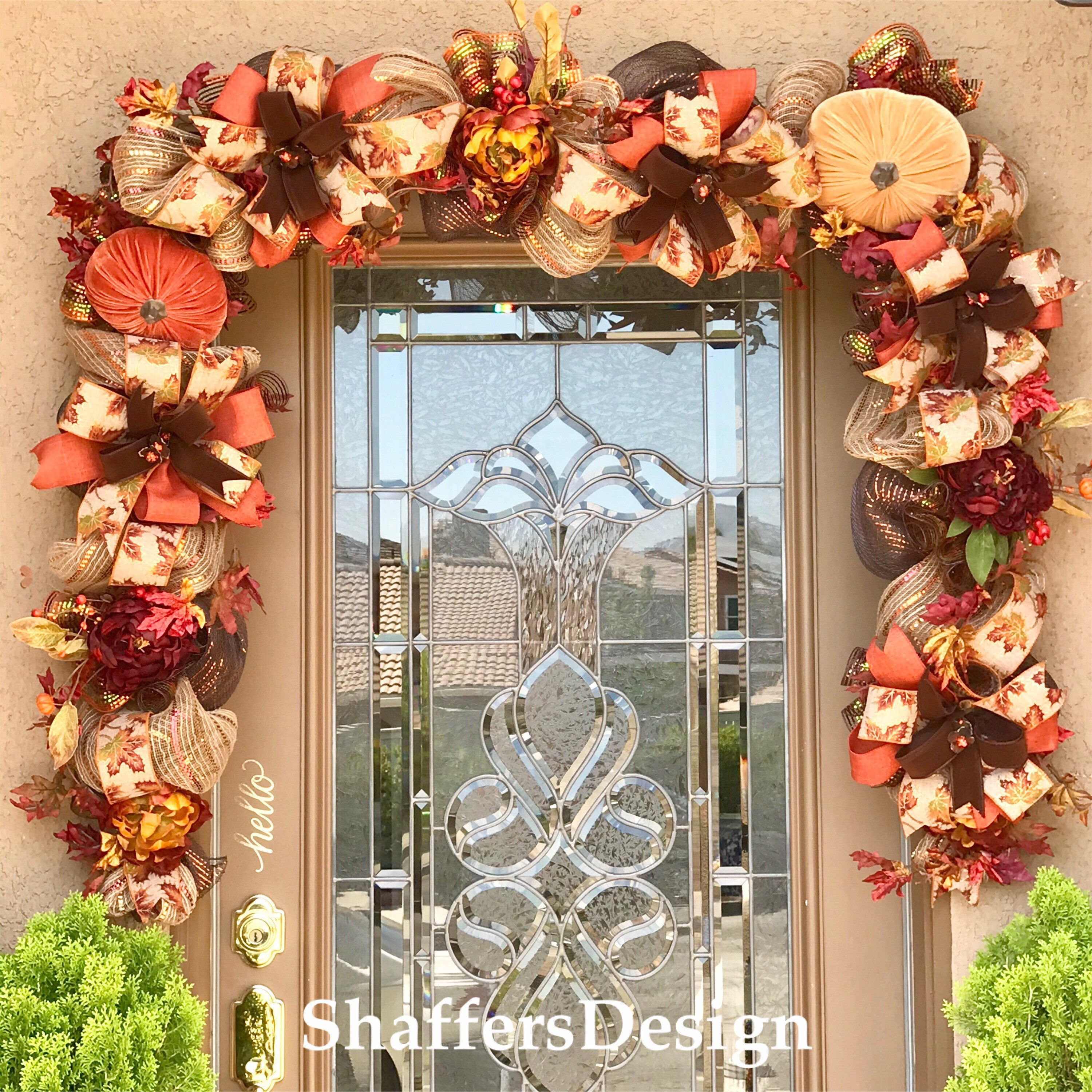 Fall Front Door Garland Bronze And Copper Fall Garland Autumn Door Decor Thanksgiving Front Door Decor Harvest Door Swag In 2020 Door Decorations Fall Door Decorations Fall Garland