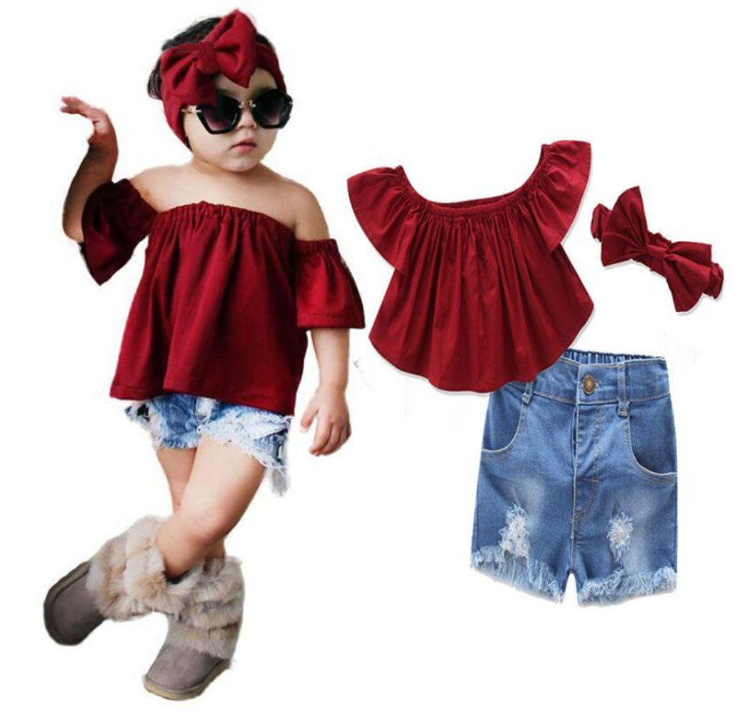 e8a50eef9 Kids Baby Girls Off-shoulder Ruffle Crop Tops Shirt+Hole Denim Shorts Pants  Set