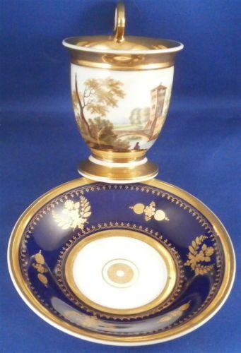 Empire-Paris-French-Scenic-Cobalt-Porcelain-Cup-amp-Saucer-Porcelaine-Tasse-Vieux