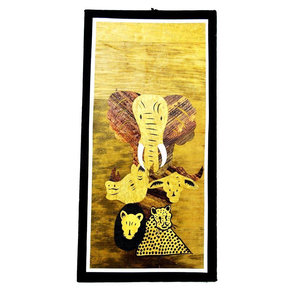 Maasai Market Africa Handmade Banana Leaf fiber Art Collage The Big Five Game