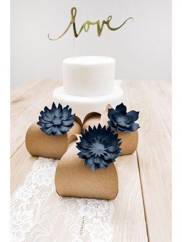 3 Fleurs en papier bleu marine 10 cm
