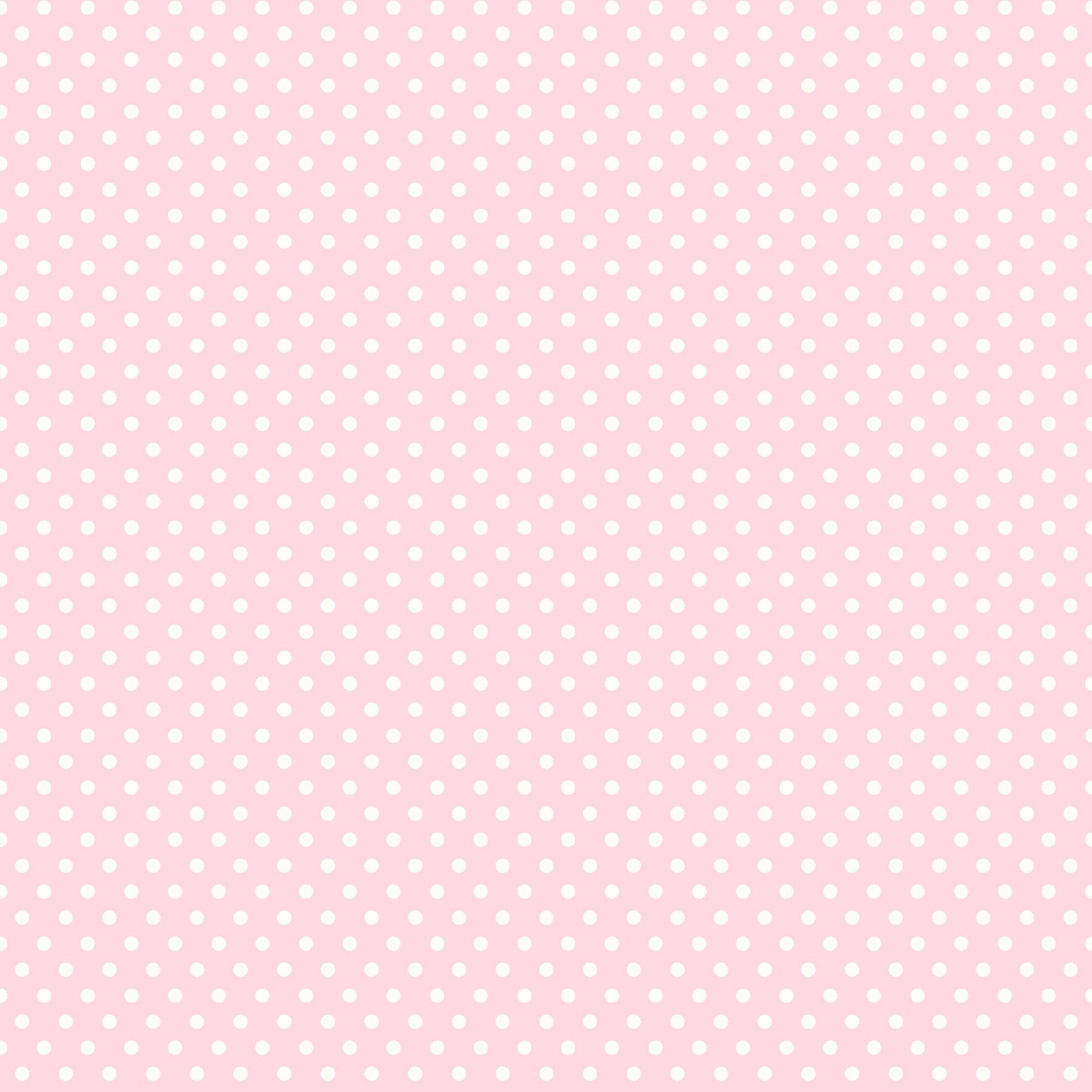 Polka Dots Pink White Wallpaper
