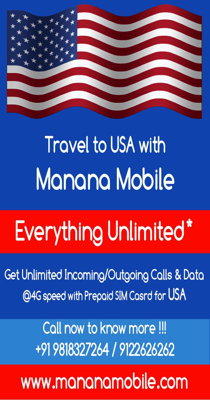 Save big when visiting USA with Manana Mobile Prepaid SIM