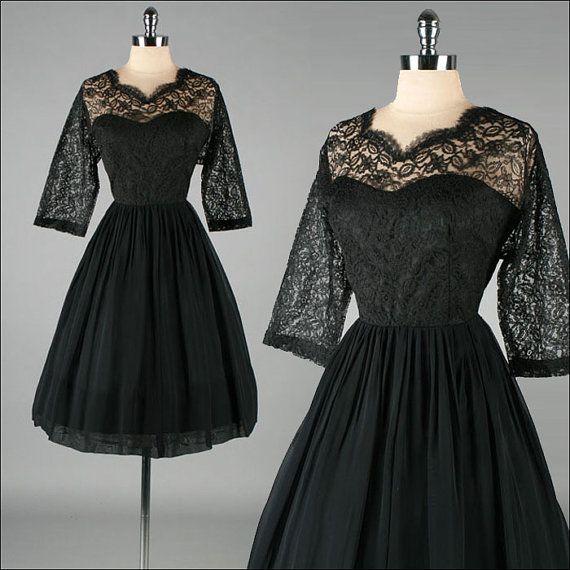 Vintage 1960s Dress  Black Lace Illusion  by millstreetvintage, $155.00