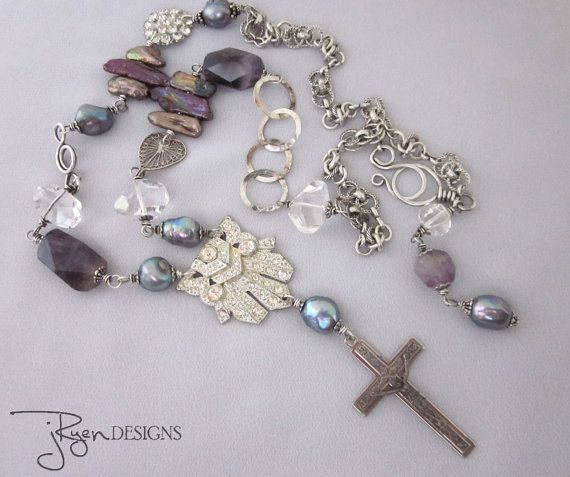 Religious+Jewelry+Religious+Cross+Necklace+by+jryendesigns+on+Etsy