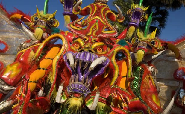 February and March are carnivals months in the Dominican Republic, Punta Cana, La Vega, Bonao and others cities fill their streets with colorfull customs