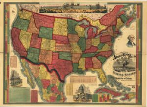 Antique Map Of The United States American Republic - Old map of the us