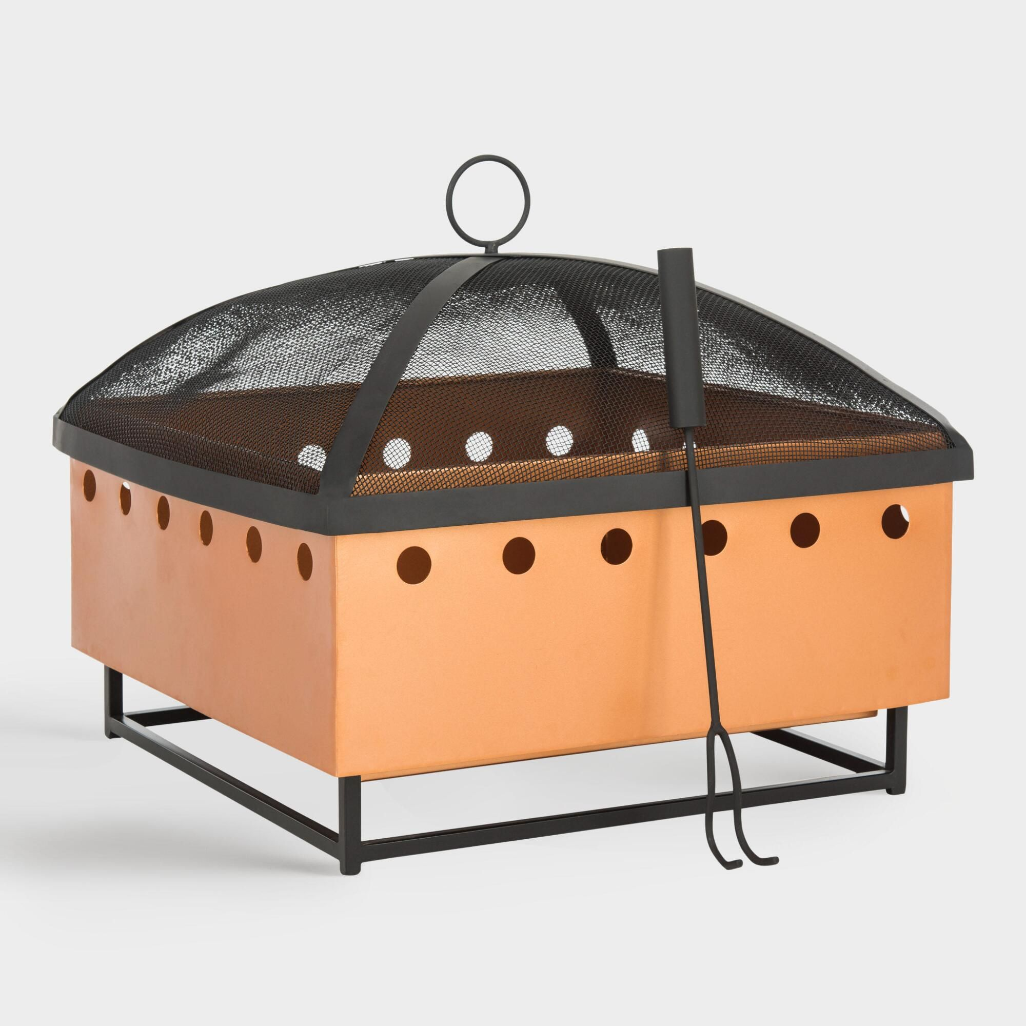 copper and black cutout dot rylan fire pit by world market