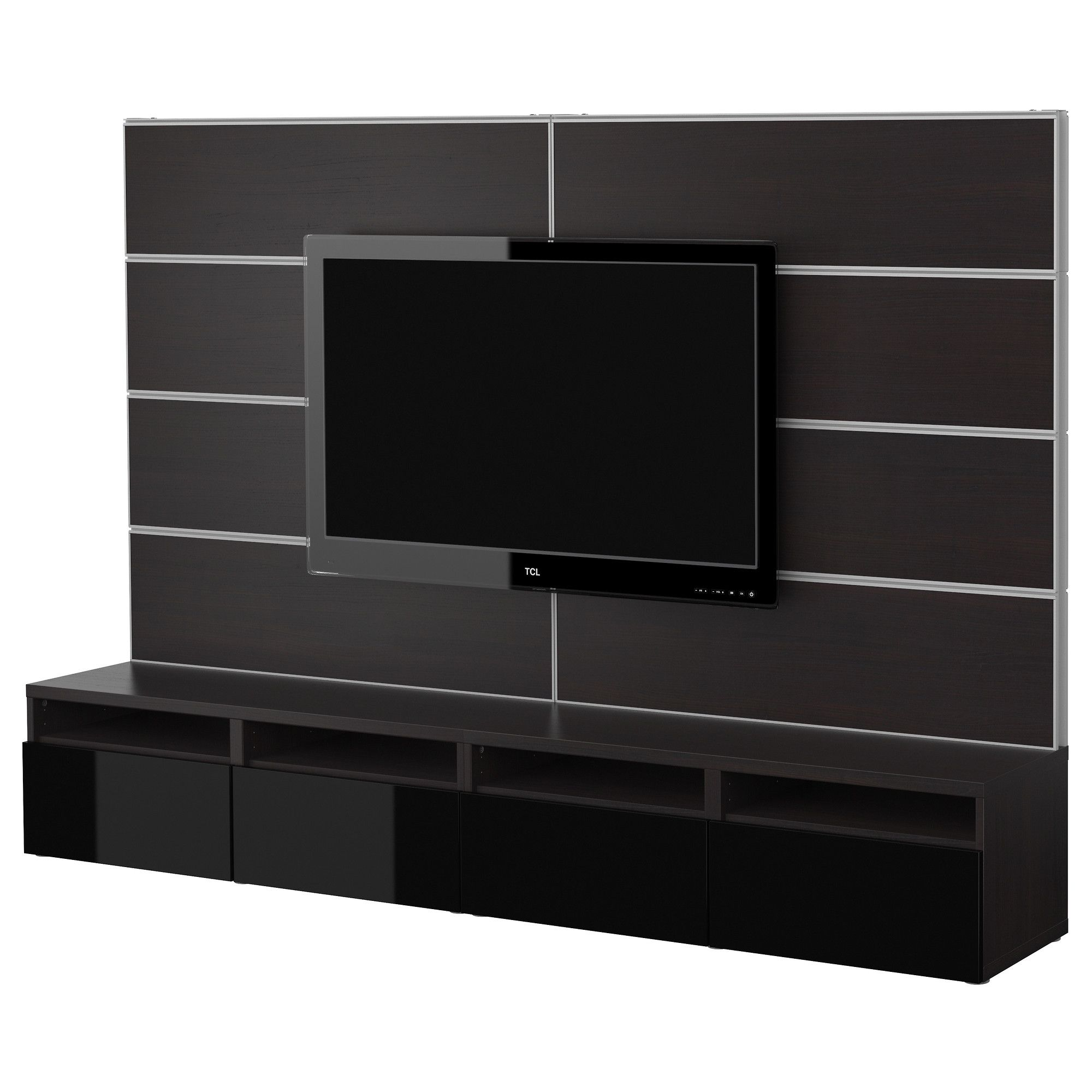 best tv storage combination black brown black ikea your different media devices. Black Bedroom Furniture Sets. Home Design Ideas