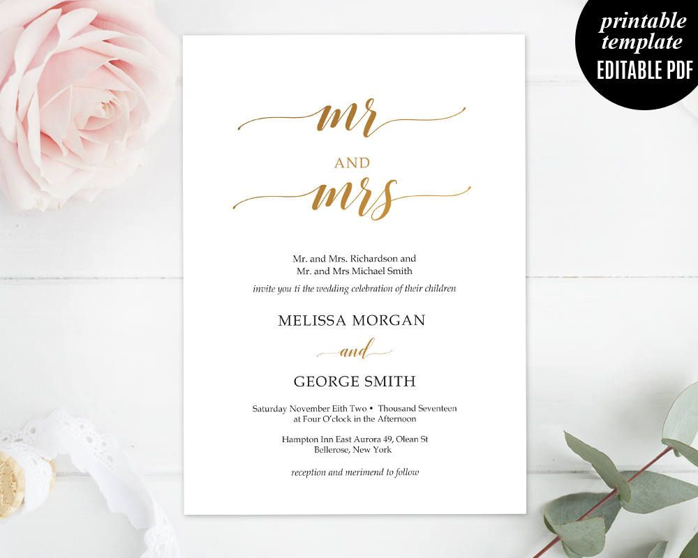 Bronze Wedding Invitation Set Template, Printable Mr and Mrs Wedding ...