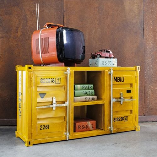meuble tv container en m tal jaune l 129 cm meuble tv tv et jaune. Black Bedroom Furniture Sets. Home Design Ideas
