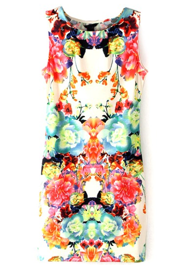 Round Neck Sleeveless Printed Dress  Rosewe.com