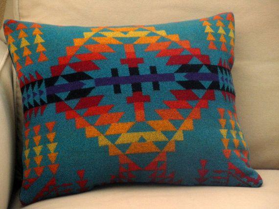 Aztec Pillow Handmade Of Pendleton Blanket Wool By Urbancamp Aztec Pillows Pendleton Blanket Pillows
