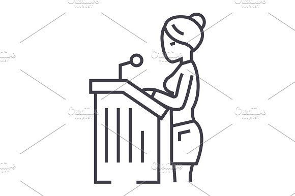 lawyer woman,speech in court vector line icon, sign