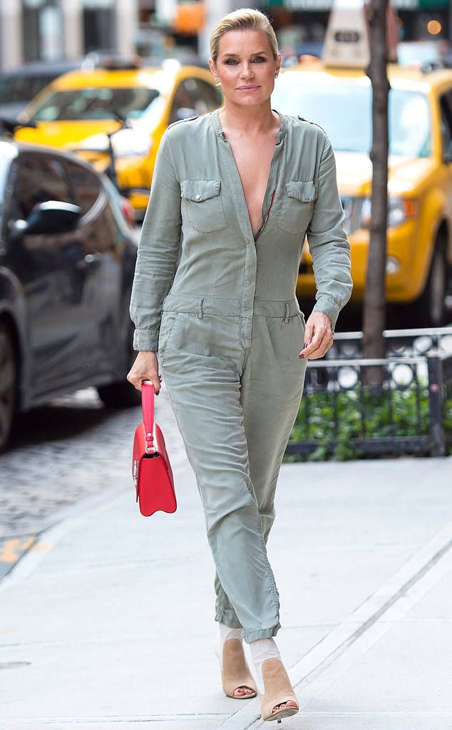 b9c791102a The Real Housewives of Beverly Hills alum looks decades younger in a green  jumpsuit on the streets of New York City. Yolanda Hadid ...