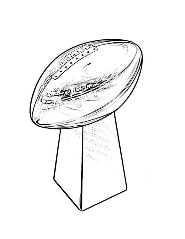 trophy super bowl coloring page for kids - Super Bowl Trophy Coloring Pages