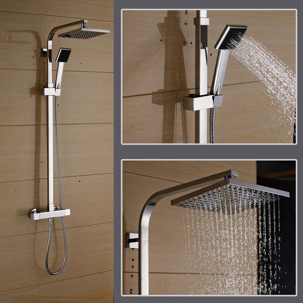 Thermostat Duscharmatur Duschpaneel Duschstange Regenbrause Regendusche Duschset In Heimwerker Bad Duscharmatur Duschstangen Duschkopf Regendusche
