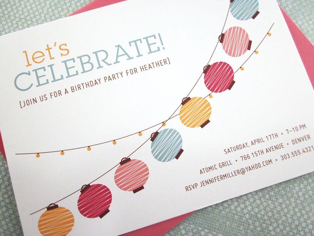 Party Lights - Paper Lanterns - Handmade Invitations 12PK. $22.00 ...