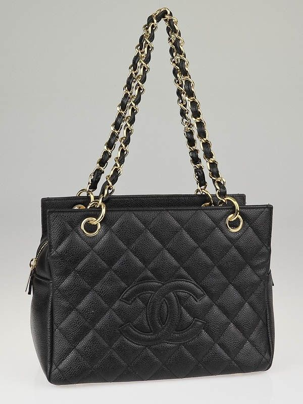 18e0e9a2a50a Chanel Black Quilted Caviar Leather Petite Timeless Shopping Tote Bag - -  CHN130930A
