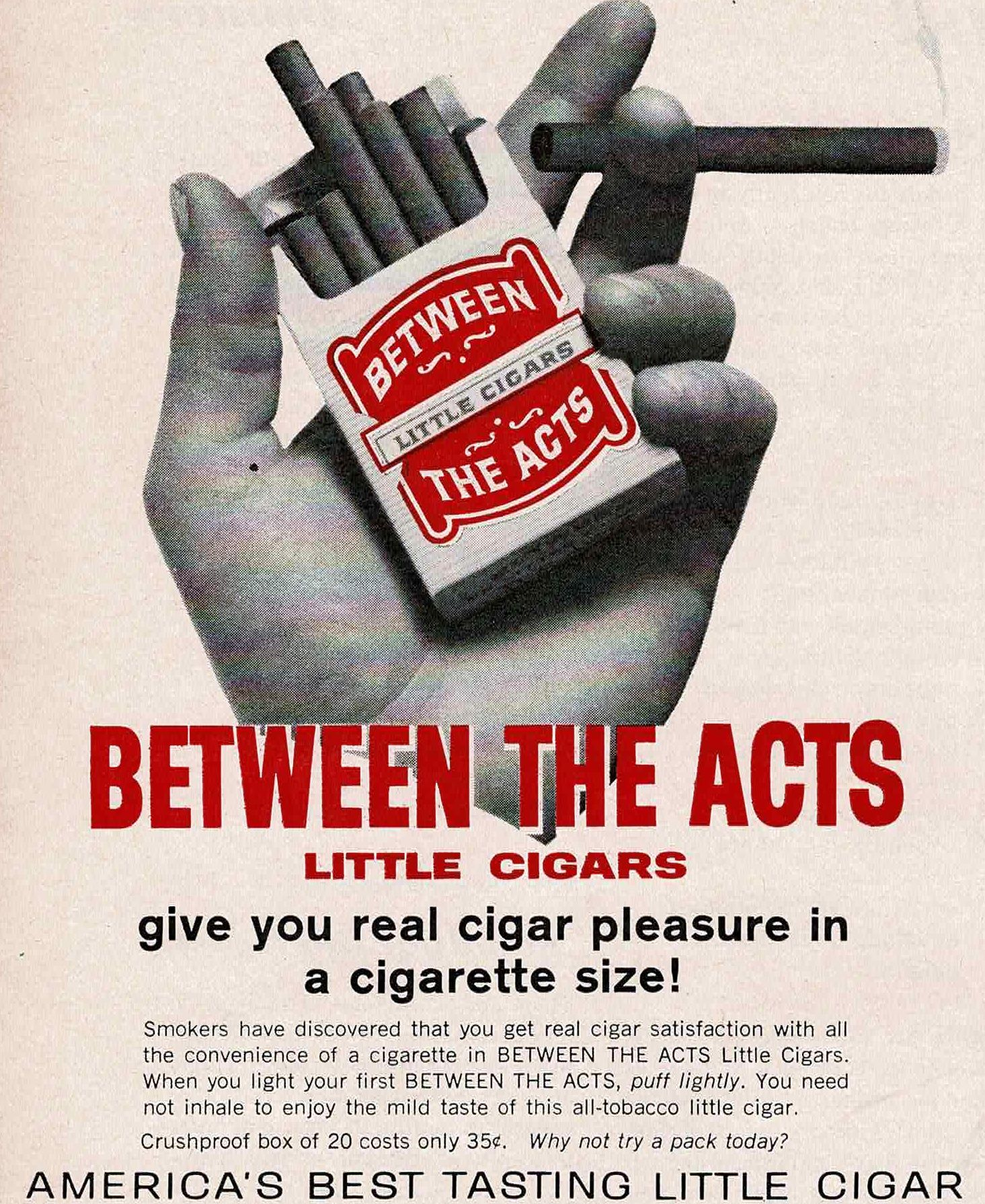 Between The Acts Little Cigars Vintage Ads Ads Acting