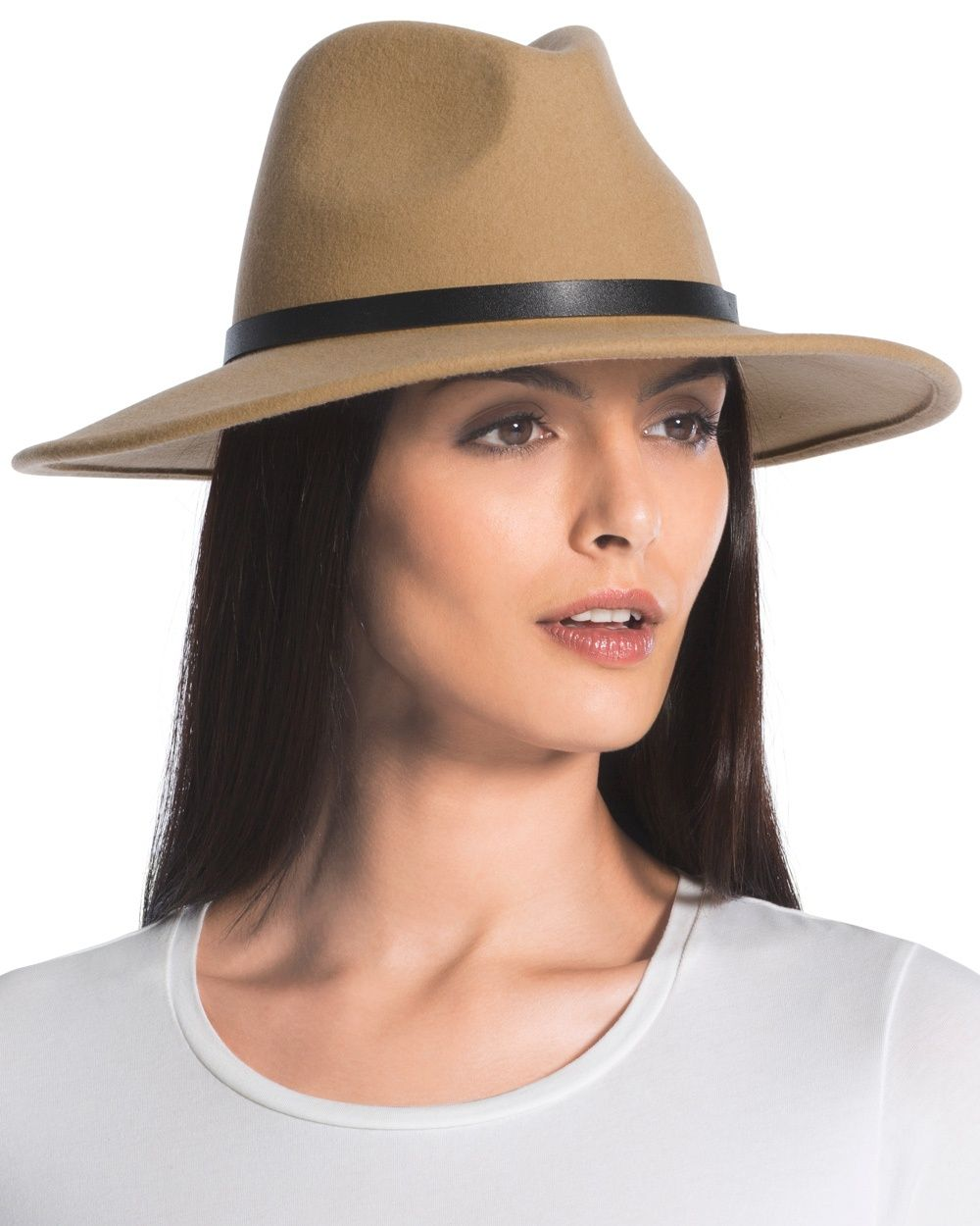 Top off your look with this fedora. A wide brim and leather band create chic style.   Wool.  Imported.