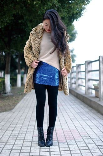 thrift stores Fall fashion | ... Topshop coat, sequin skirt from a thrift store and vintage boots