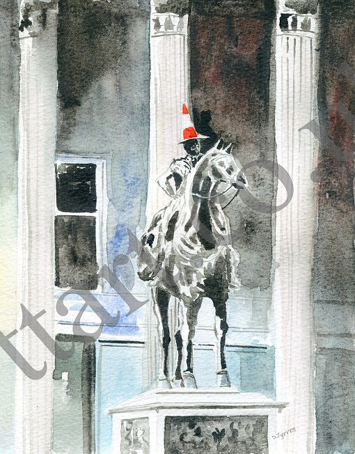 Duke Of Wellington Statue With Traffic Cone Art Prints Painting