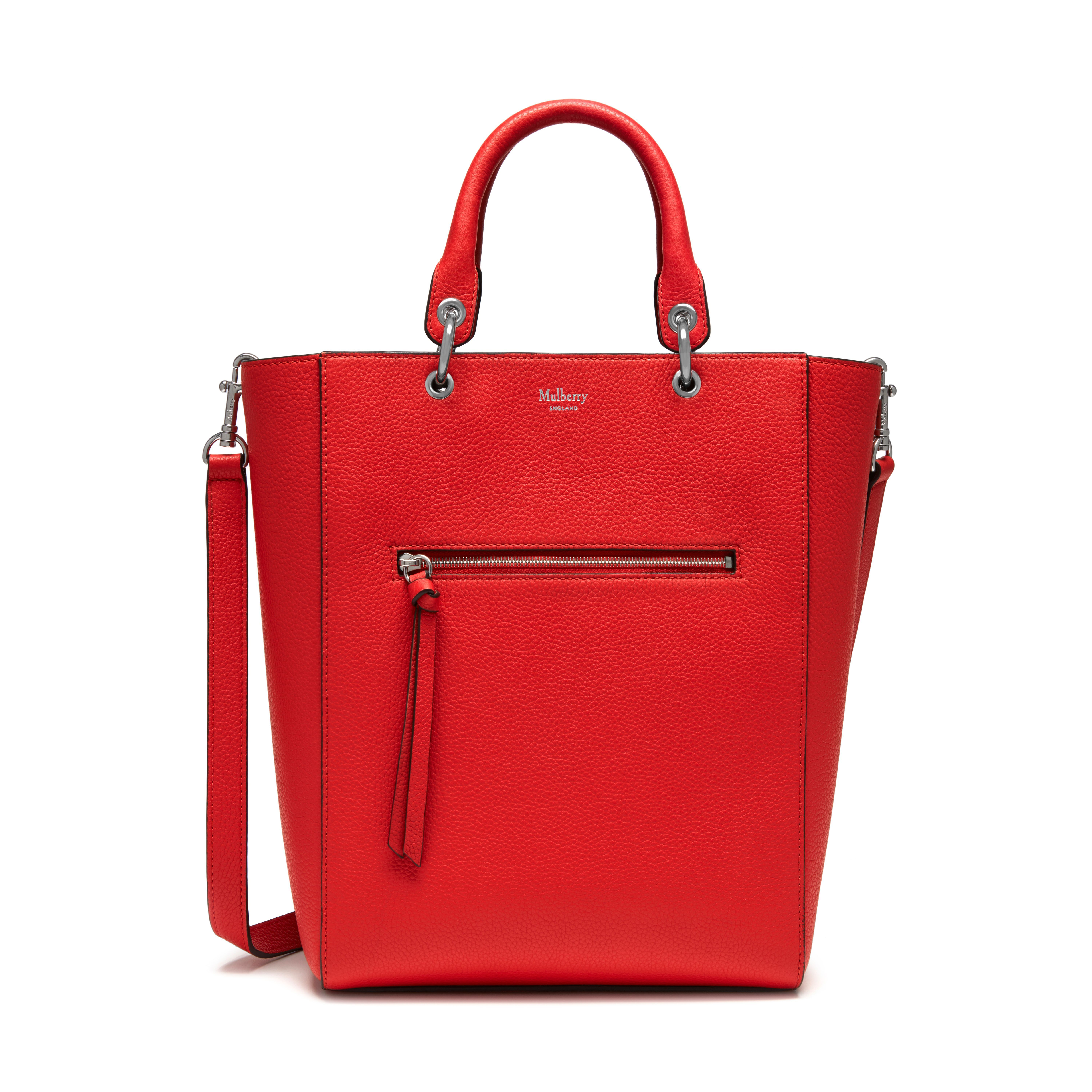 587313fb3651 Shop the Small Maple in Fiery Red Small Classic Grain Leather at Mulberry.com.  A compact tote with a cool and playful feel