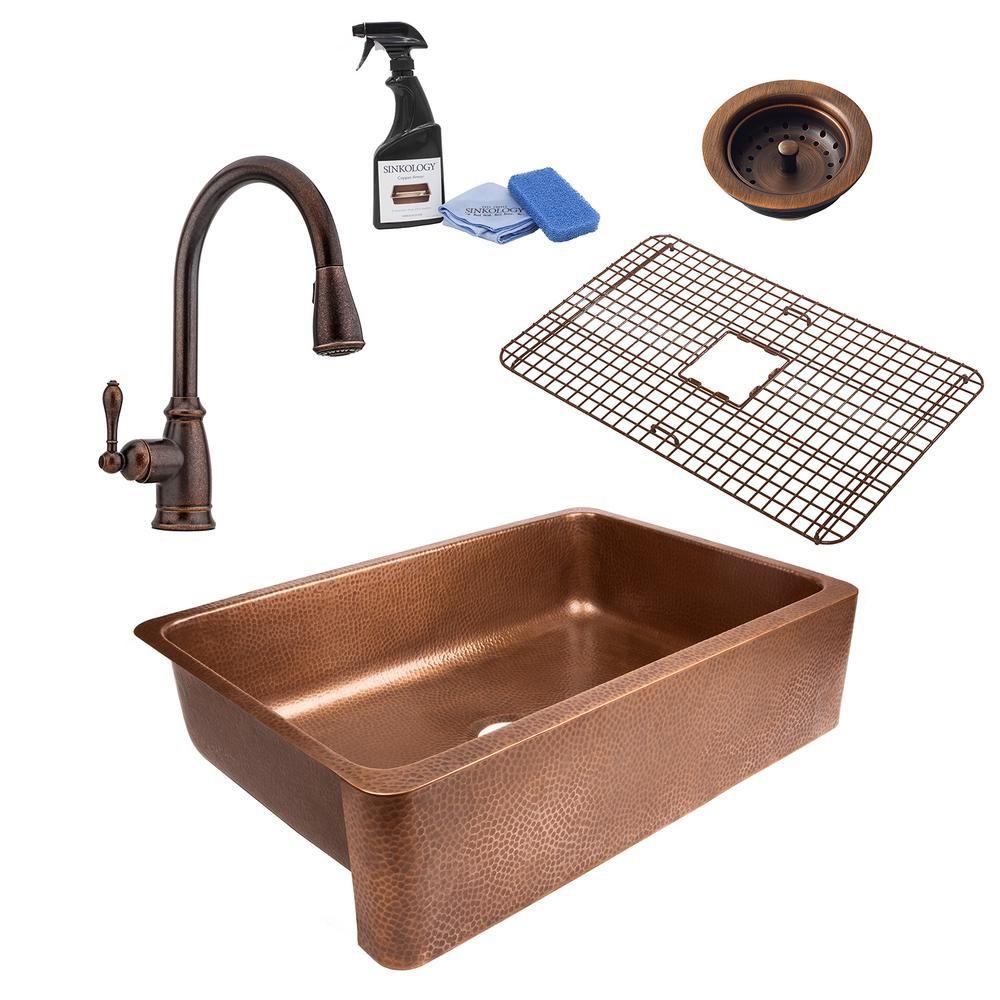 SINKOLOGY Lange AllinOne Farmhouse Apron Copper Sink 32