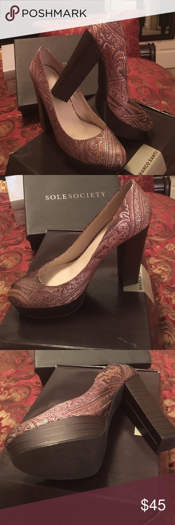 🔥💥FINAL PRICE DROP💥🔥Marco Santi-Sole Society Bronze Fabric Pump worn once Marco Santi Shoes Platforms