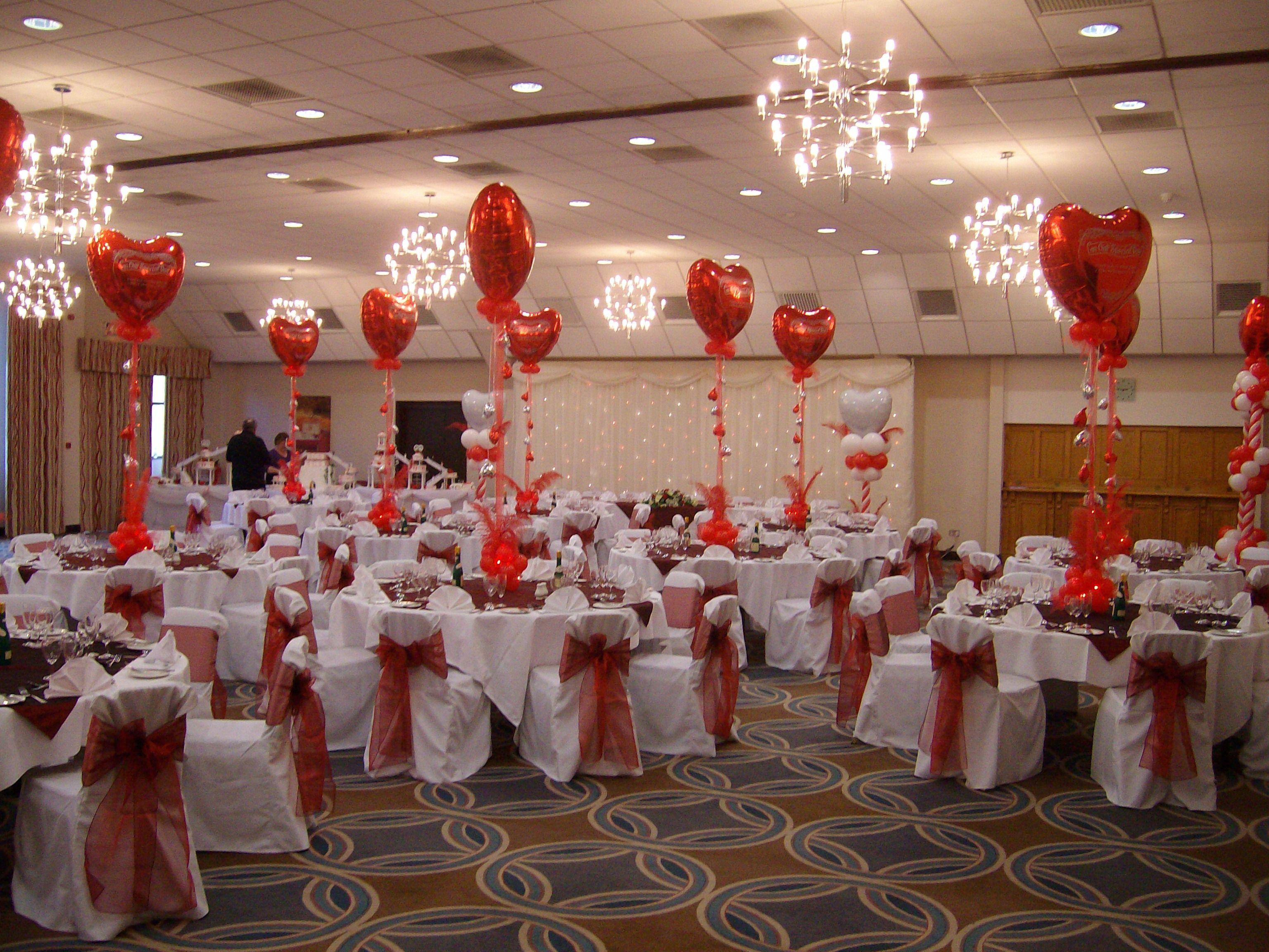 San Valentin Decoration Centros De Mesa Con Globos Metalizados En Forma De Corazn