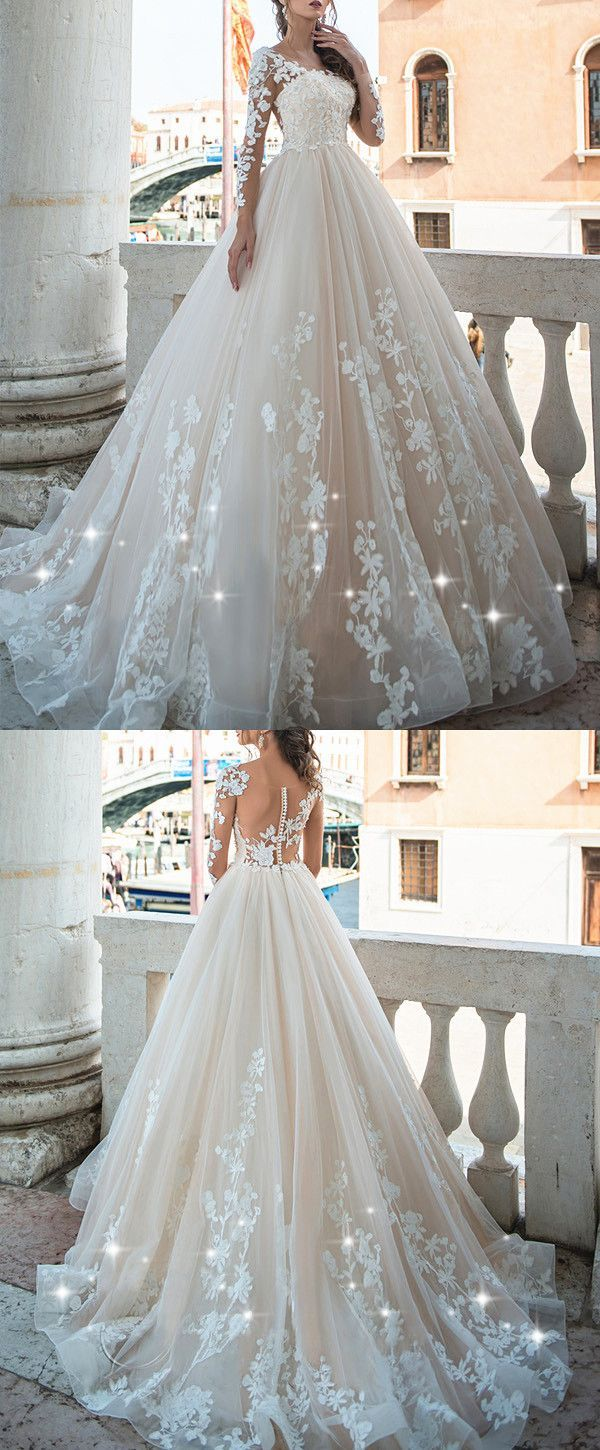 Junoesque Tulle Scoop Neckline A-line Wedding Dresses With Lace