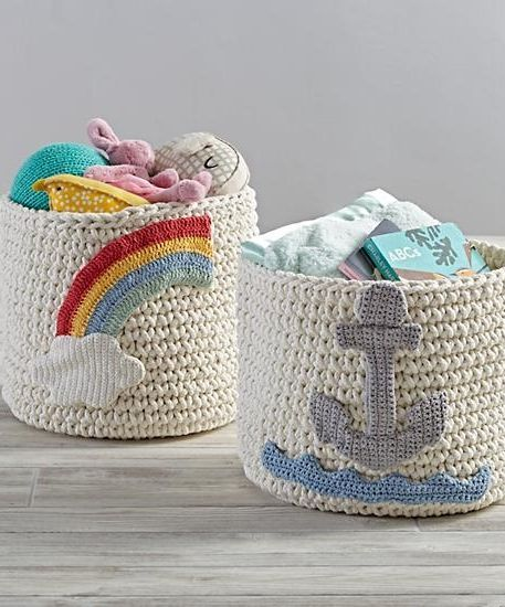 Featuring A Soft Cotton Construction These Knit Storage Bins Are Perfect For In The Nursery Or Bedroom Storing Small Toys Clotheore
