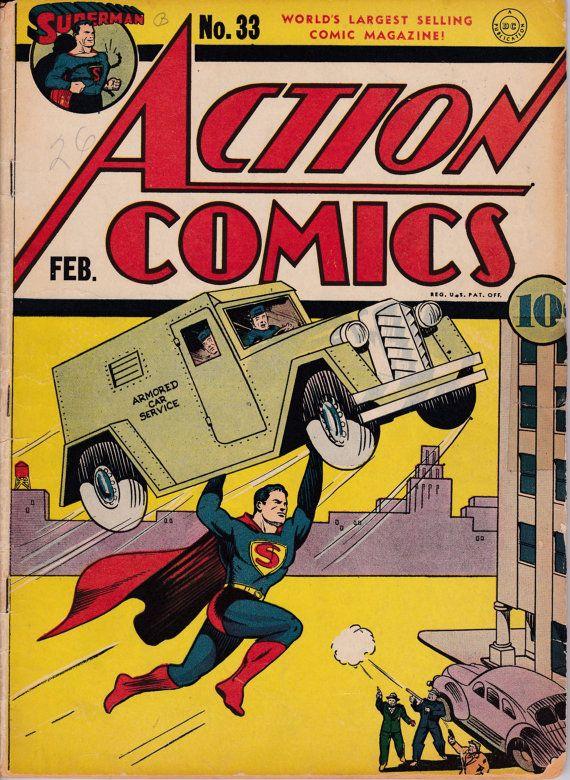 "Superman comic book poster 24x36/"" Action Comics # 33"