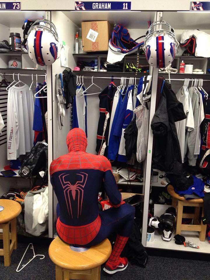 Buffalo Bills Locker Room Halloween Tj Graham Spider Man Buffalo Bills Red White Blue Red And White