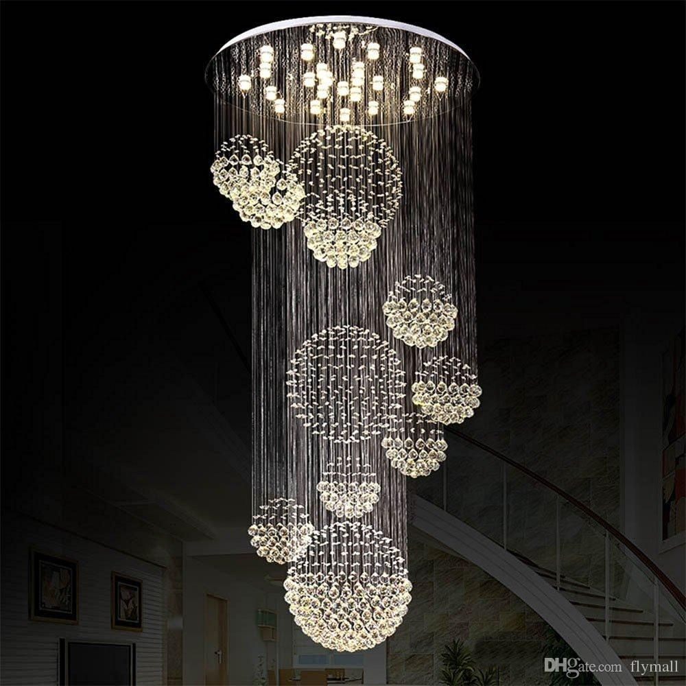 Modern Large Crystal Chandelier Light Rain Drop Crystal Sphere