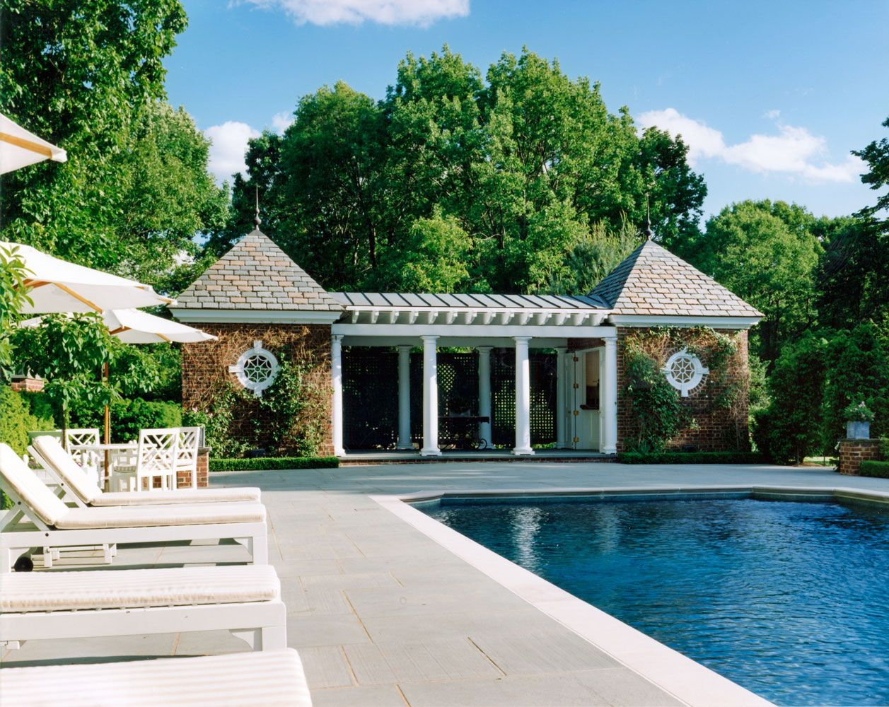 Charles Hilton Architects | American Brick Georgian Pool House, Patio And  Pool On An Extraordinary