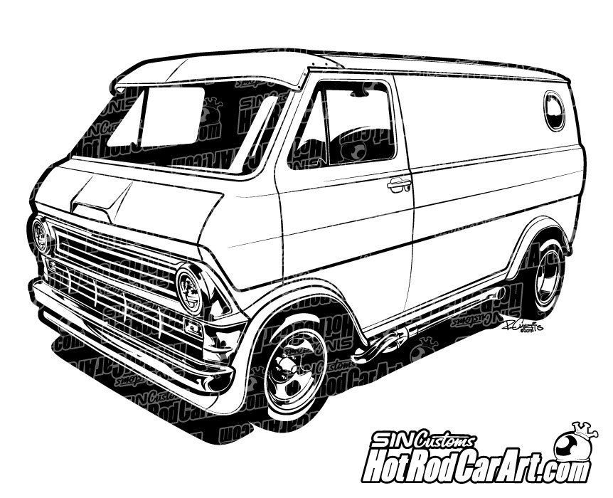 1974 Custom Ford Econoline Van Clip Art Art Cars Custom Vans