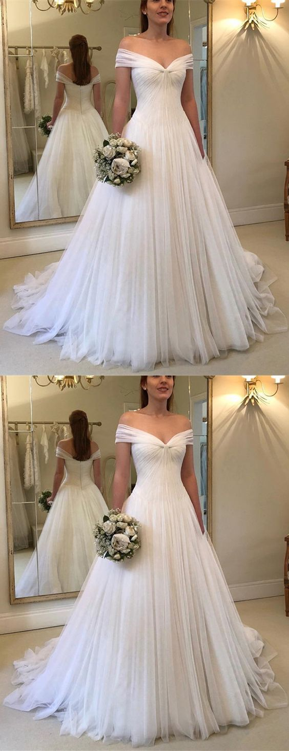 » Elegant Ball Gown Off the Shoulder Chiffon White Long Wedding Dresses, Fairy Wedding Dresses WD1023001 #tulleballgown