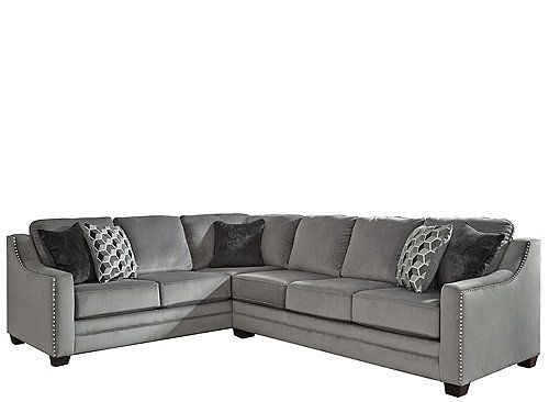The Linwood 2-piece sectional sofa is upholstered in soft ...
