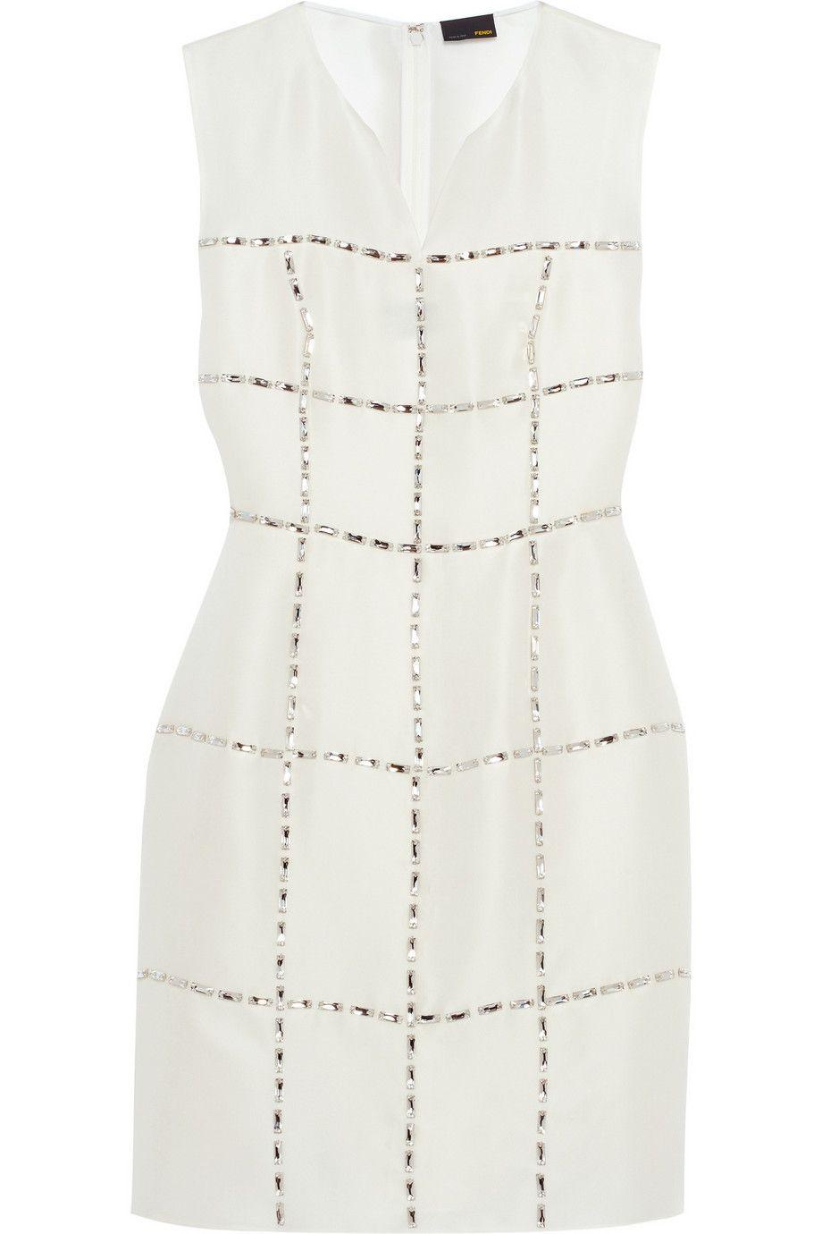 Fendi Swarovski Crystal Embellished Silk Gazar Dress Fendi Dress Dresses White Sheer Dress [ 1380 x 920 Pixel ]