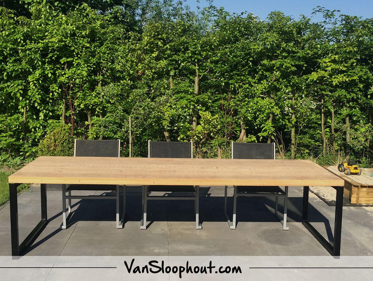 tuintafel oude balken tafel met stalen 0 frame reclaimed