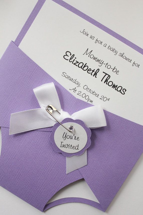 Baby Diaper Shower Invitation Purple Baby Girl by CraftedbyLizC ...